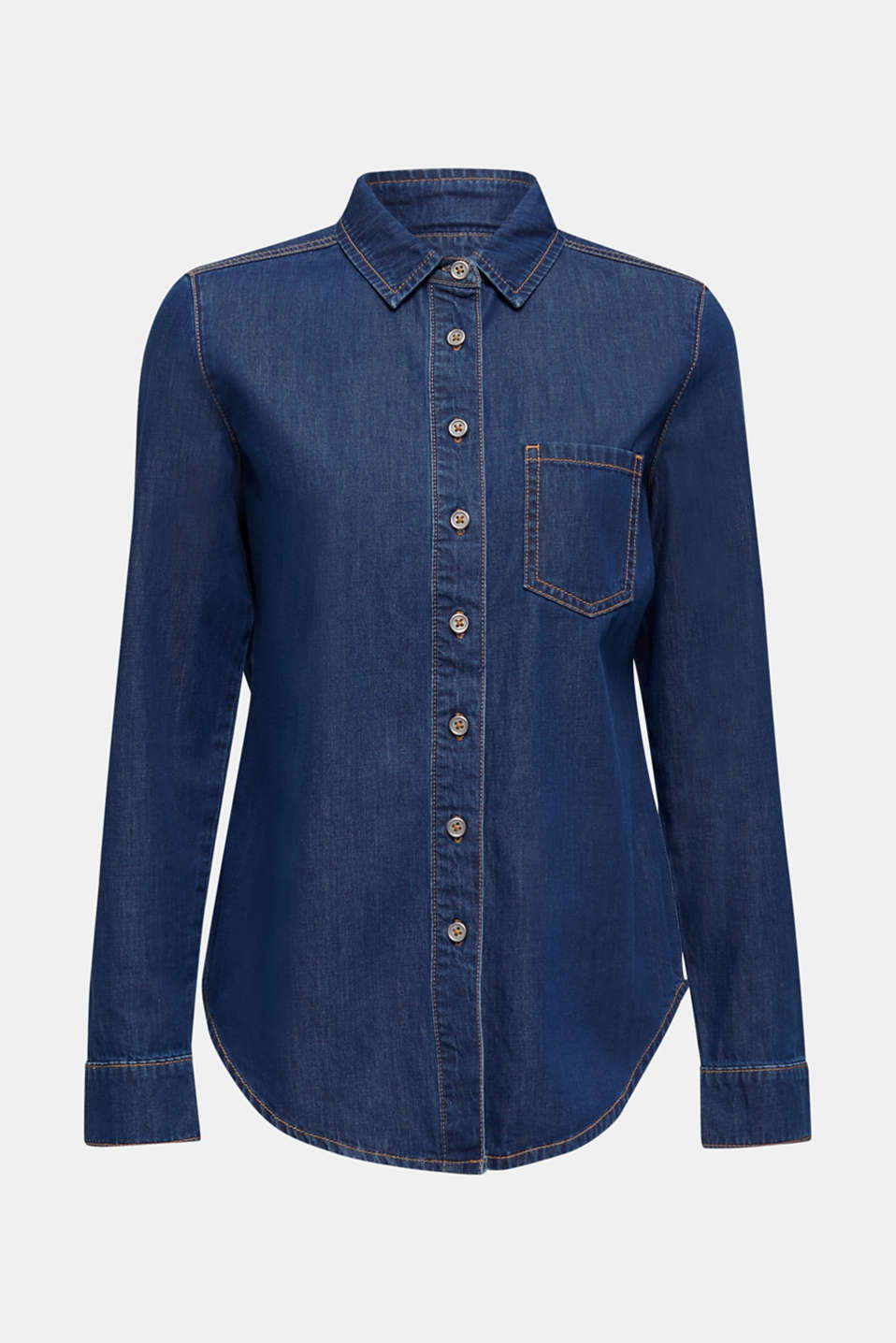 Lightweight dark denim blouse, 100% organic cotton, BLUE MEDIUM WASH, detail image number 7