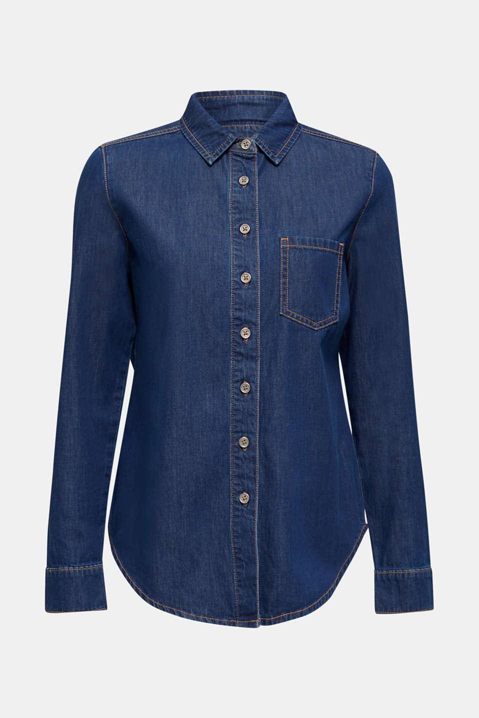 Denim blouse made of organic cotton, BLUE MEDIUM WASH, detail image number 7