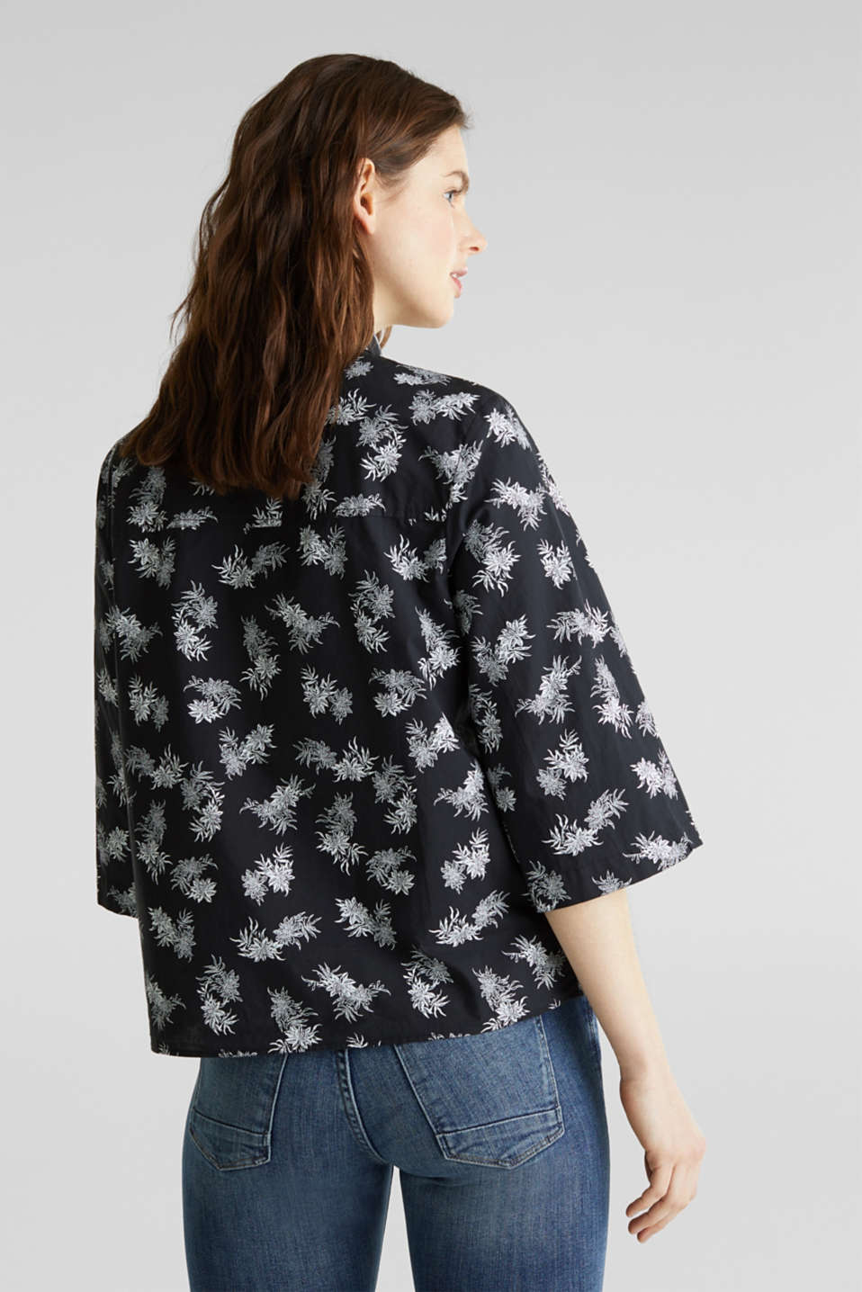 Cotton blouse with 3/4-length sleeves, BLACK 3, detail image number 3