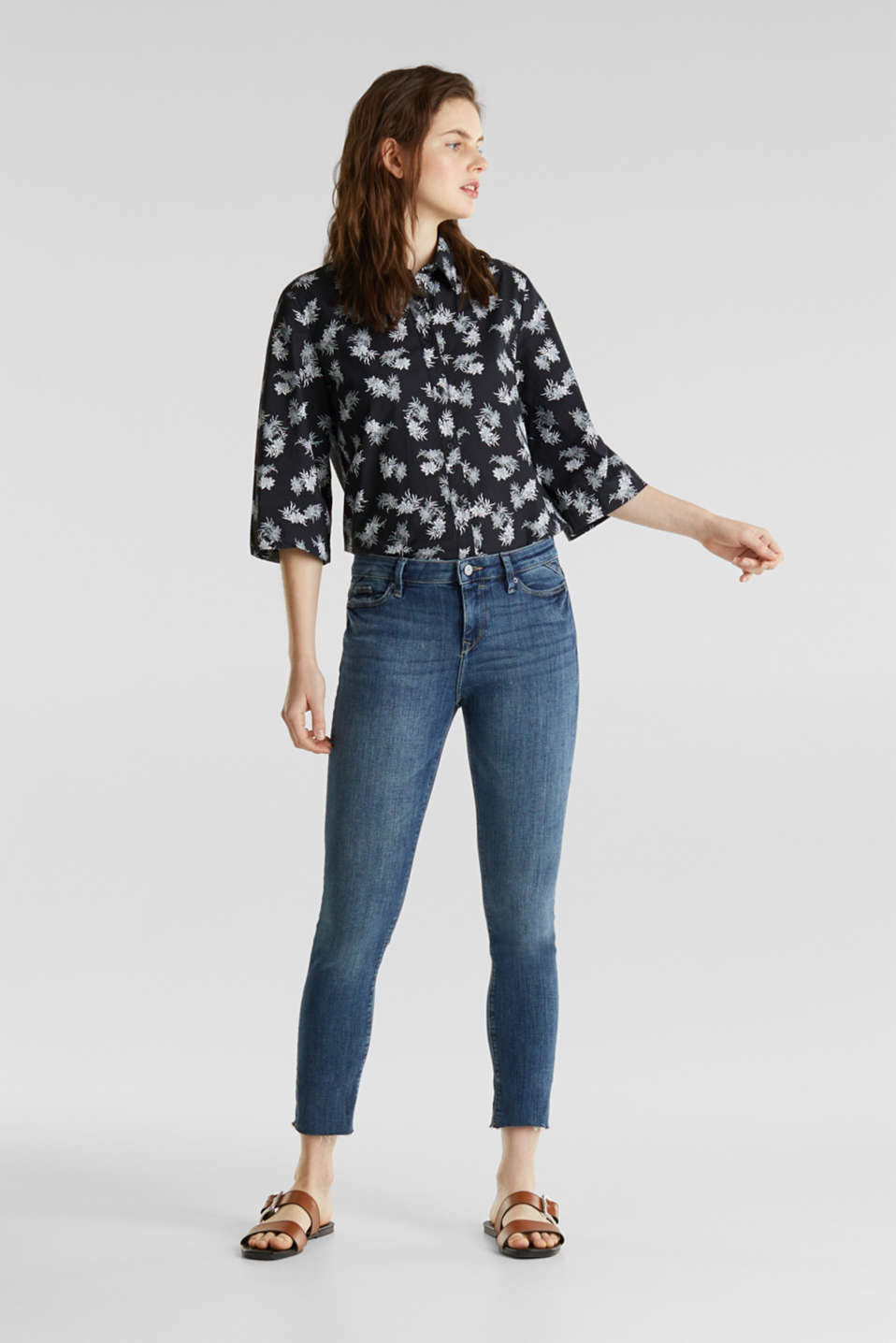 Cotton blouse with 3/4-length sleeves, BLACK 3, detail image number 1