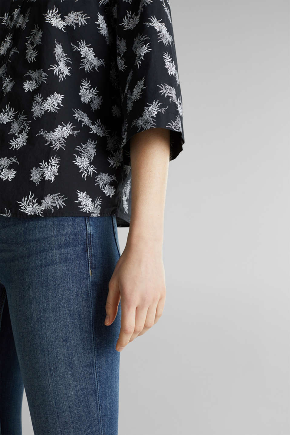 Cotton blouse with 3/4-length sleeves, BLACK 3, detail image number 2