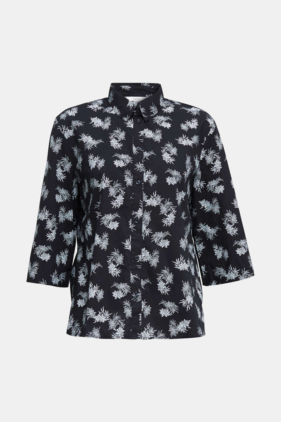 Cotton blouse with 3/4-length sleeves, BLACK 3, detail image number 5