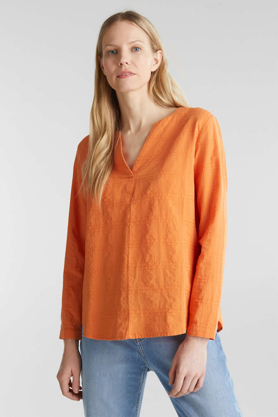 Textured blouse, 100% cotton, RUST ORANGE, detail image number 0