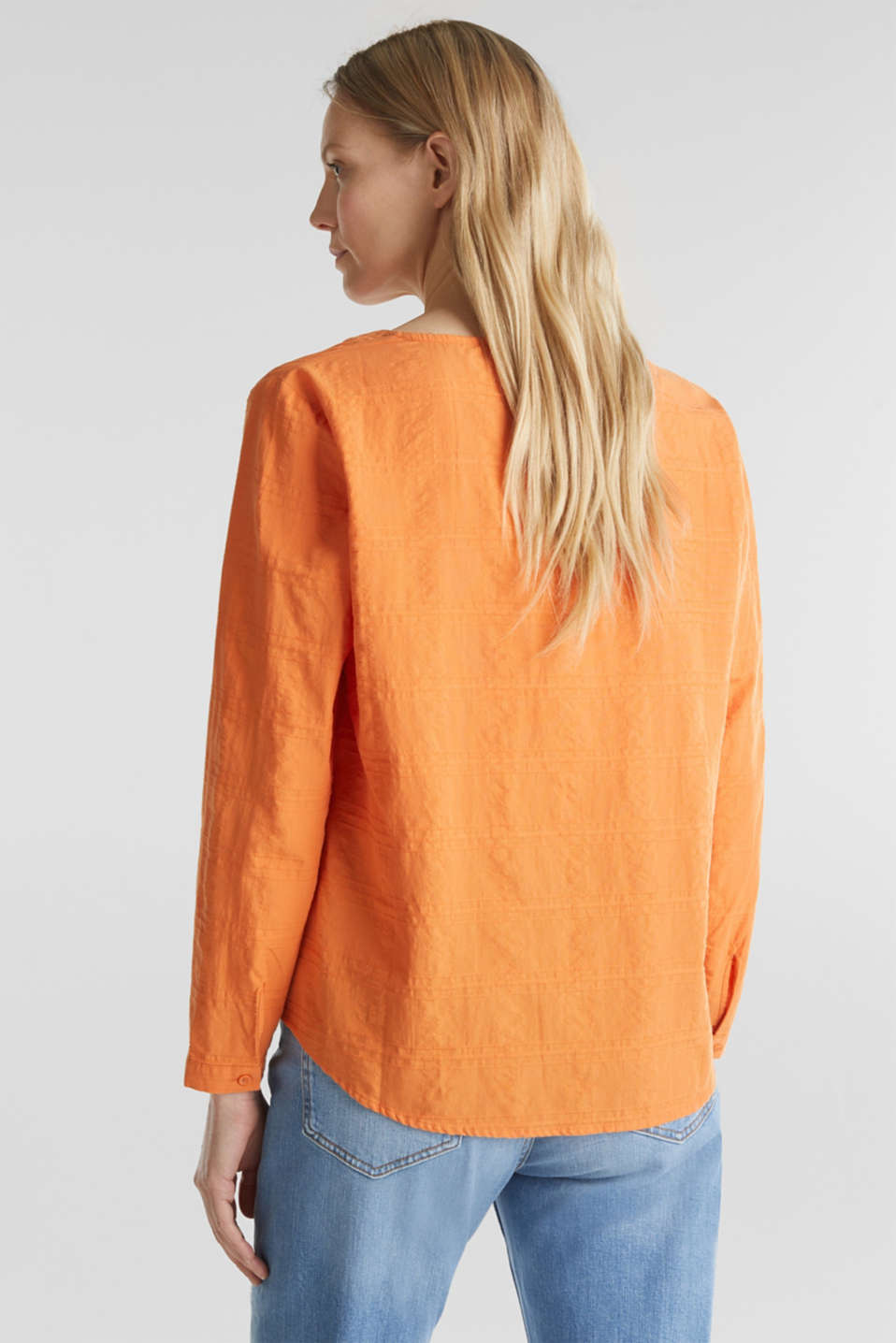 Textured blouse, 100% cotton, RUST ORANGE, detail image number 3