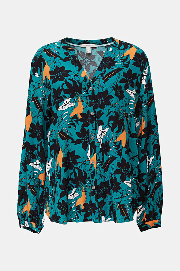 Blouse made from LENZING™ ECOVERO™, TEAL GREEN, detail image number 7