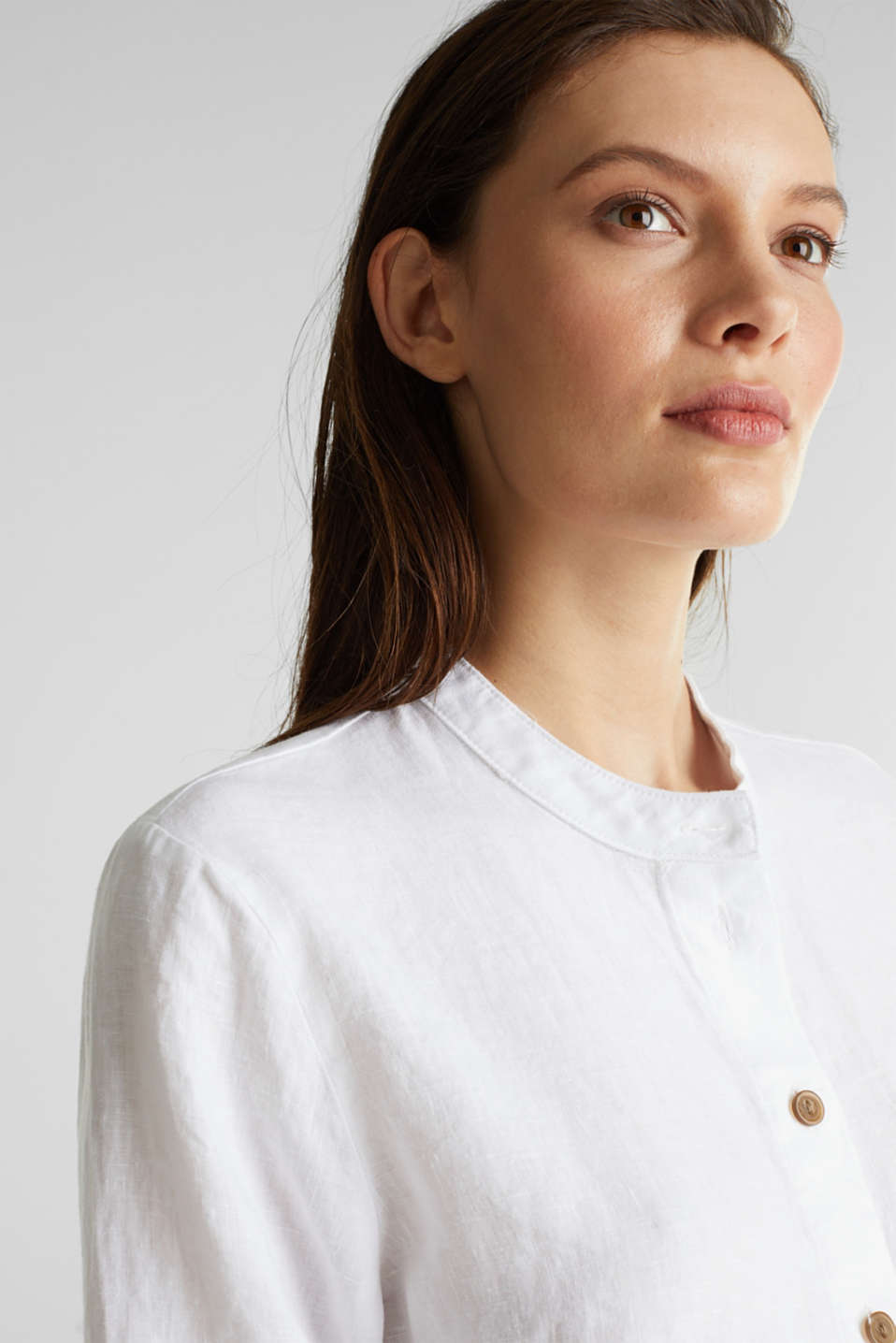 Made of 100% linen: Blouse jacket with a band collar, WHITE, detail image number 5