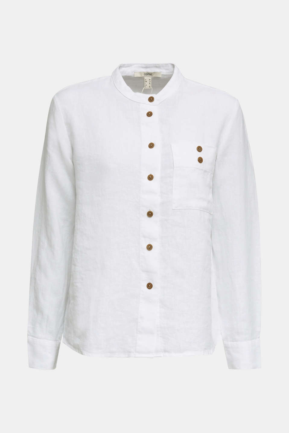 Made of 100% linen: Blouse jacket with a band collar, WHITE, detail image number 6