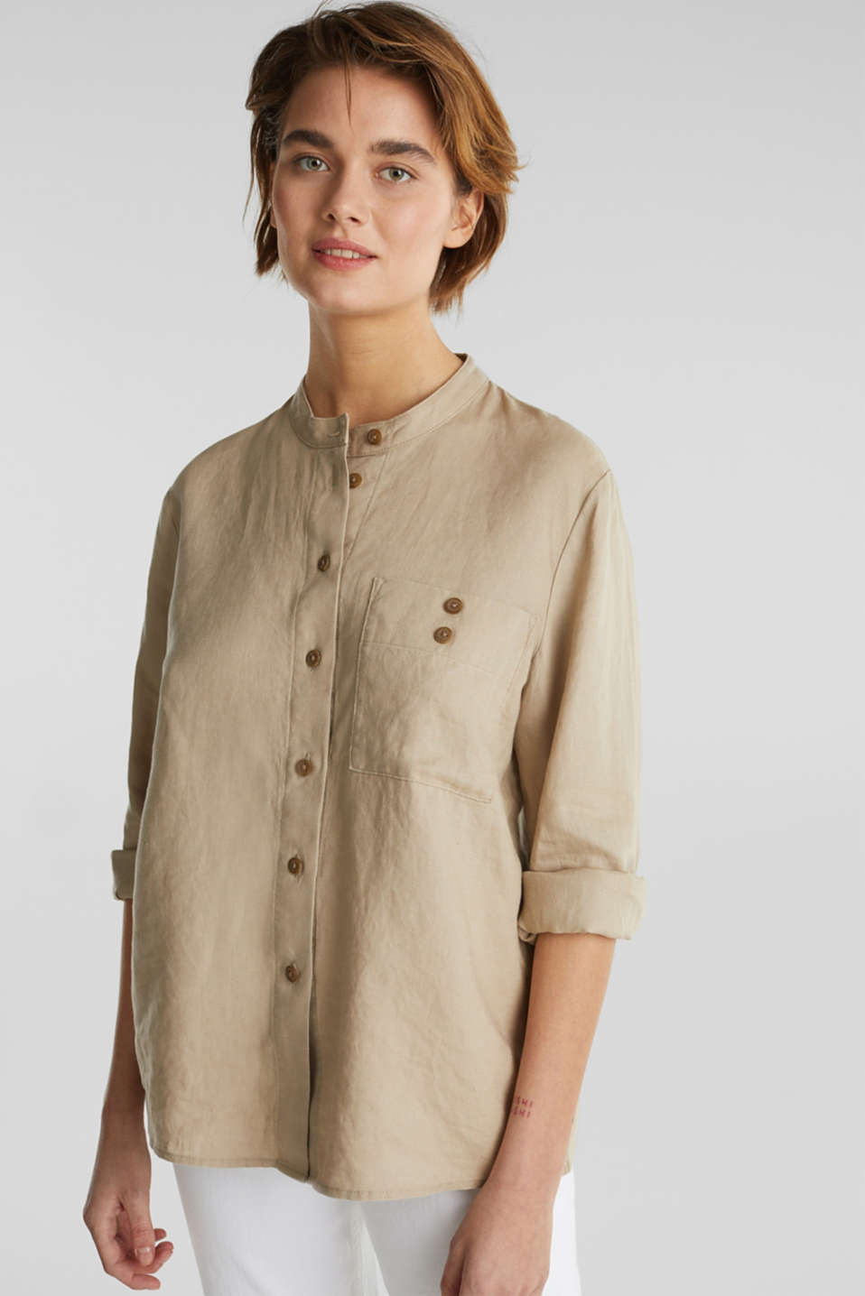 Made of 100% linen: stand-up collar blouse, BEIGE, detail image number 0