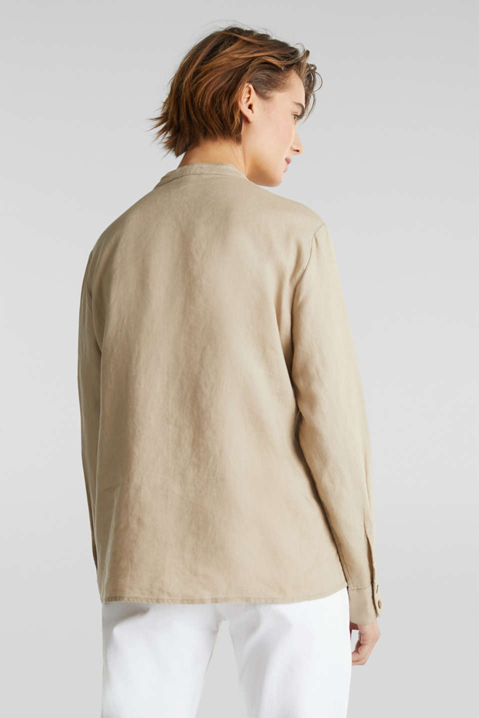 Made of 100% linen: stand-up collar blouse, BEIGE, detail image number 3