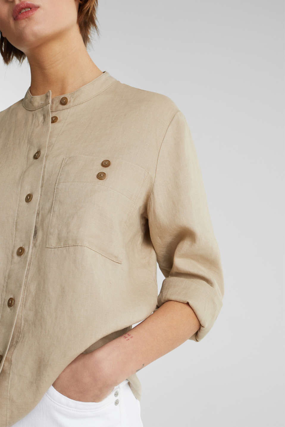 Made of 100% linen: stand-up collar blouse, BEIGE, detail image number 5