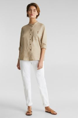 Made of 100% linen: stand-up collar blouse, BEIGE, detail