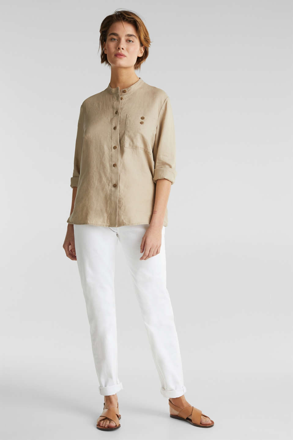 Made of 100% linen: stand-up collar blouse, BEIGE, detail image number 1