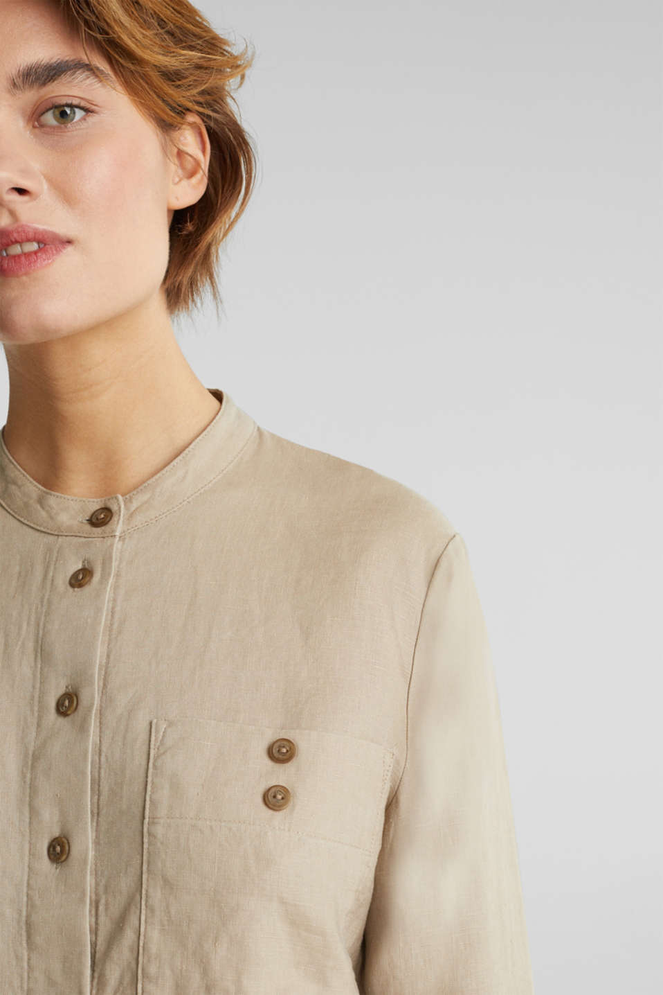 Made of 100% linen: stand-up collar blouse, BEIGE, detail image number 2