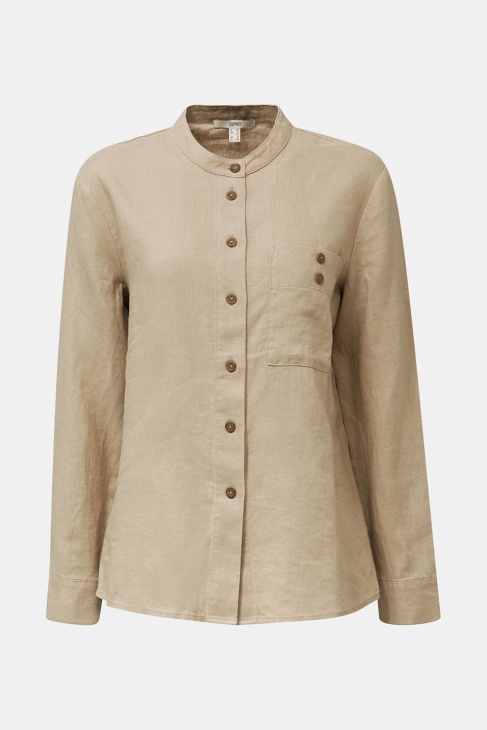 Made of 100% linen: stand-up collar blouse, BEIGE, detail image number 6