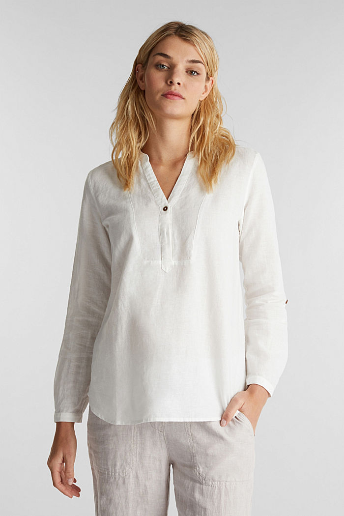 Made of blended linen: Henley blouse, OFF WHITE, detail image number 0