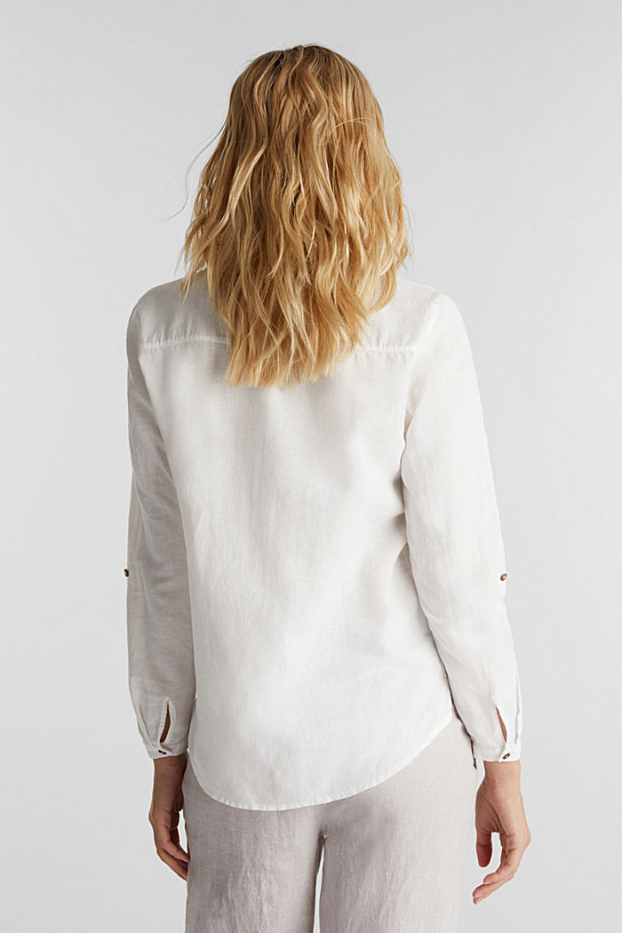 Made of blended linen: Henley blouse, OFF WHITE, detail image number 3