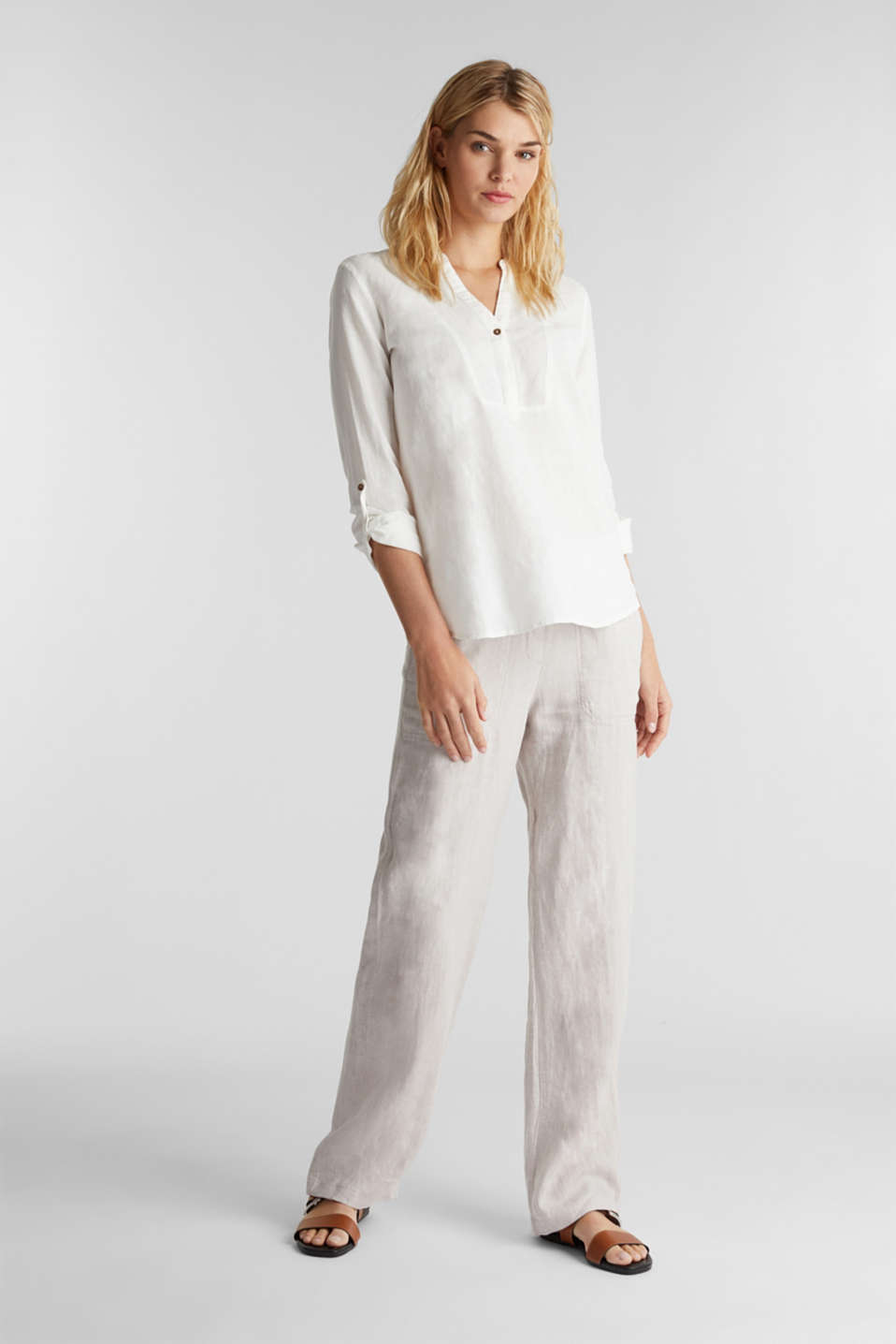 Made of blended linen: Henley blouse, OFF WHITE, detail image number 1
