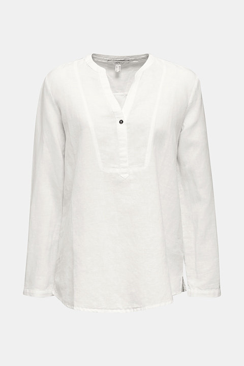Made of blended linen: Henley blouse