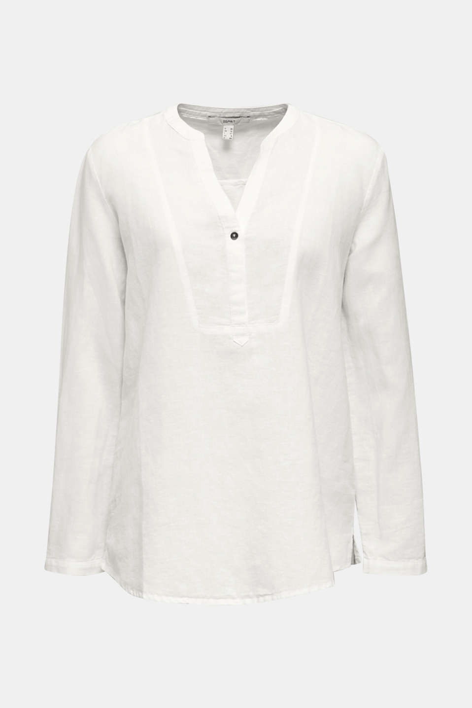 Made of blended linen: Henley blouse, OFF WHITE, detail image number 7