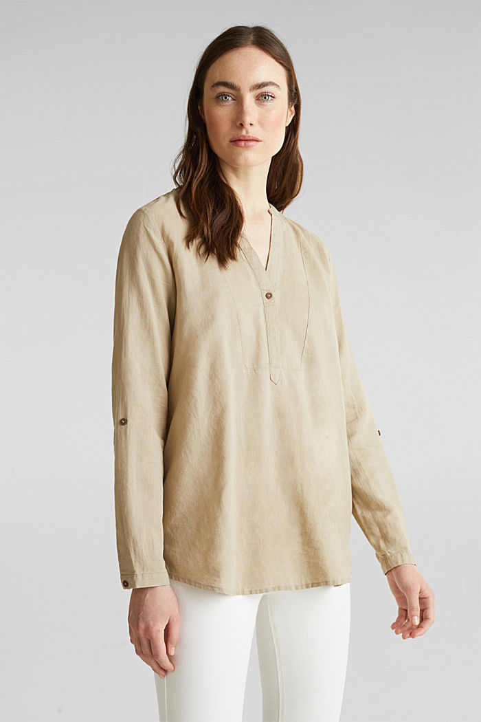 Made of blended linen: Henley blouse, BEIGE, detail image number 0