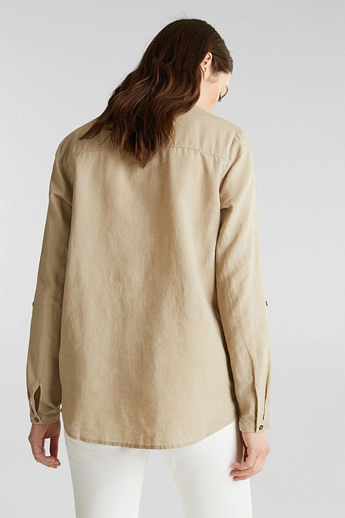 Made of blended linen: Henley blouse, BEIGE, detail image number 3