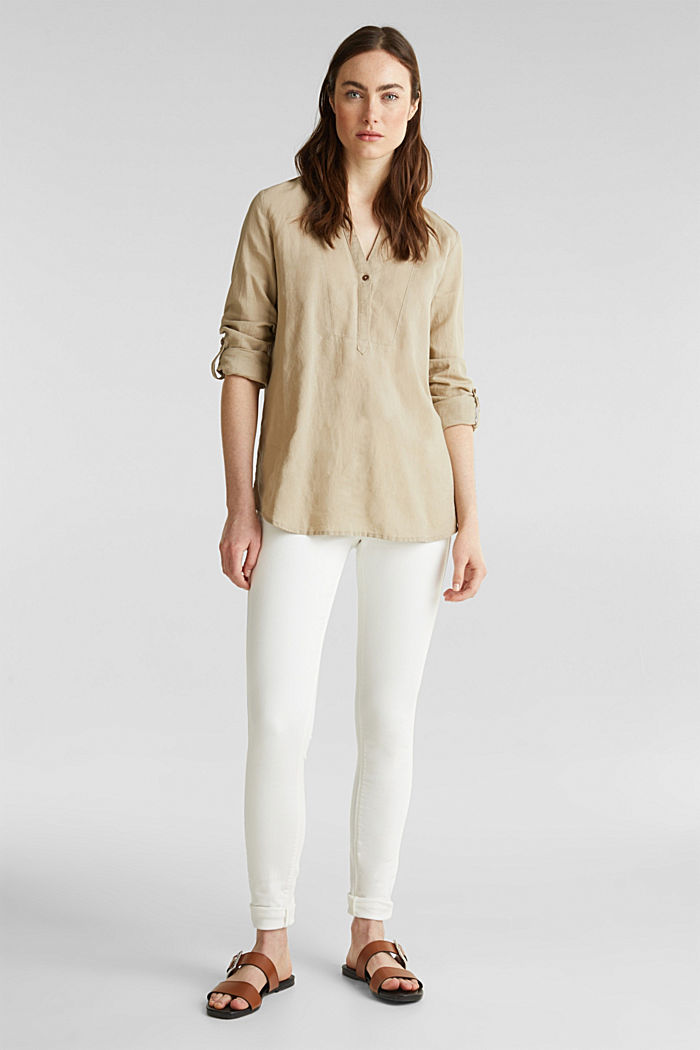 Made of blended linen: Henley blouse, BEIGE, overview