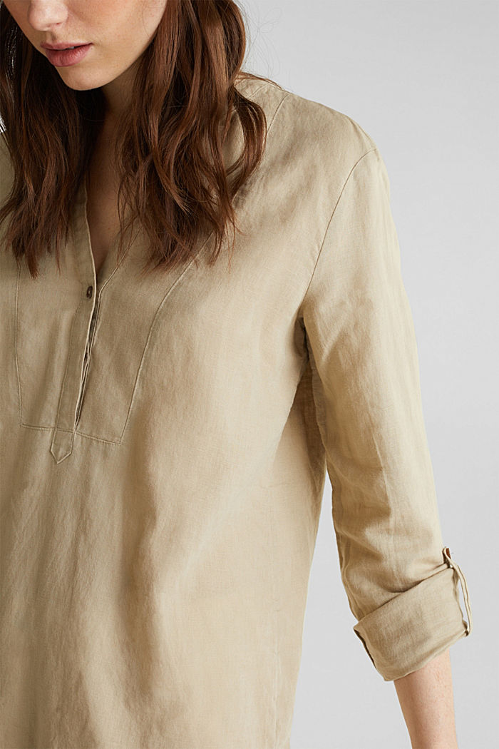 Made of blended linen: Henley blouse, BEIGE, detail image number 2