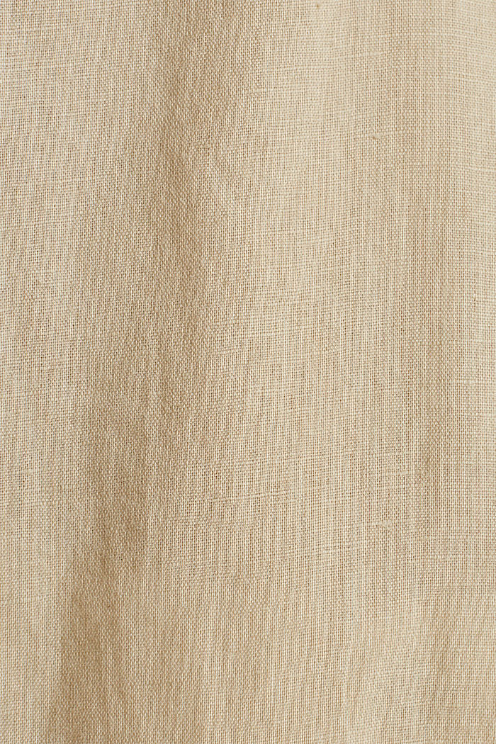 Made of blended linen: Henley blouse, BEIGE, detail image number 4