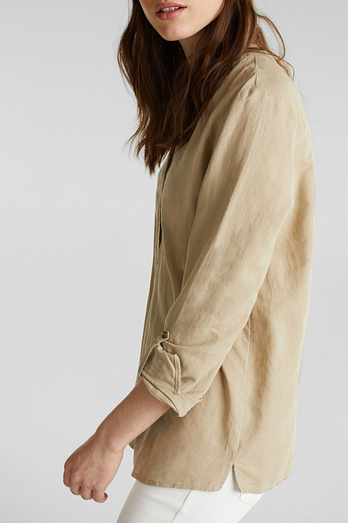 Made of blended linen: Henley blouse, BEIGE, detail image number 5