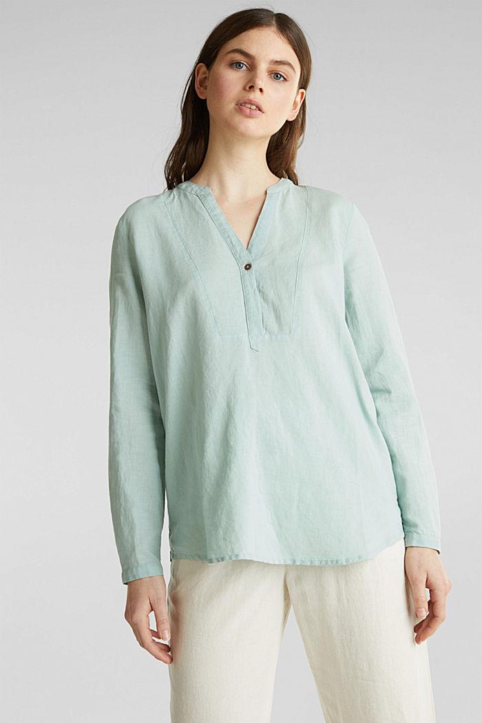 Made of blended linen: Henley blouse, LIGHT AQUA GREEN, detail image number 0