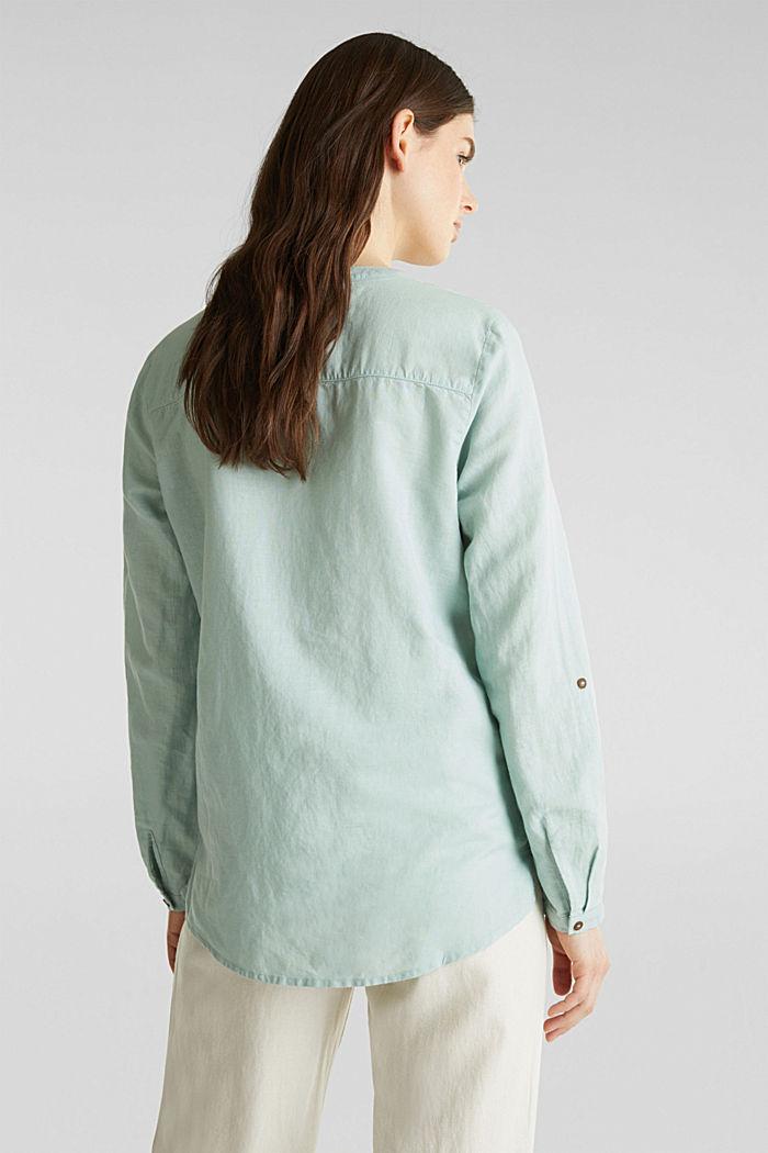 Made of blended linen: Henley blouse, LIGHT AQUA GREEN, detail image number 3