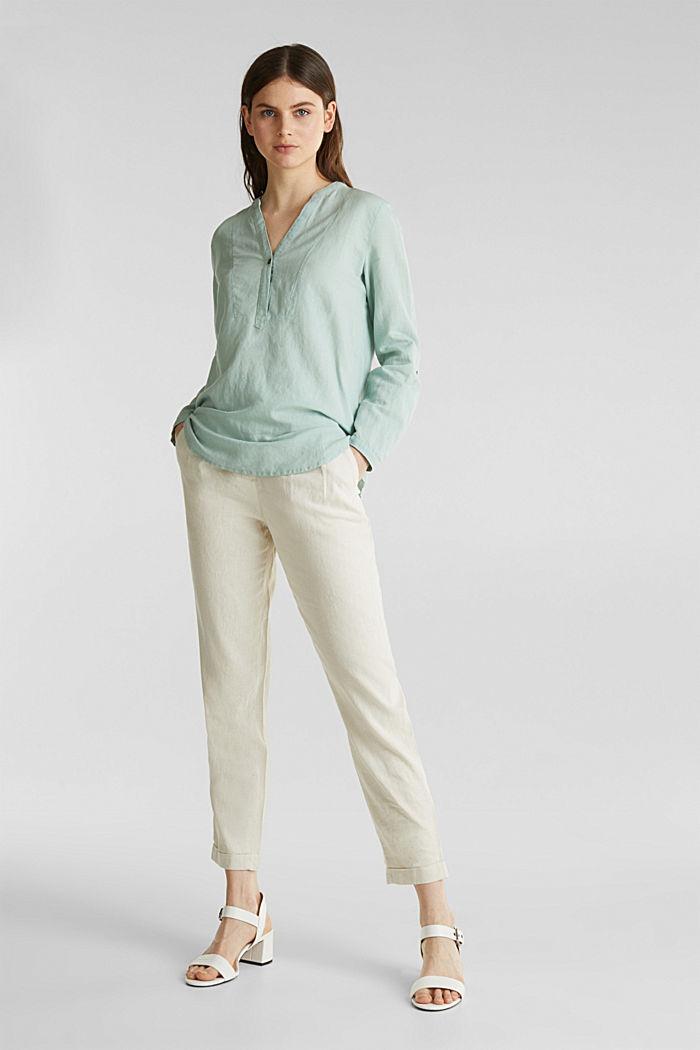 Made of blended linen: Henley blouse, LIGHT AQUA GREEN, detail image number 1