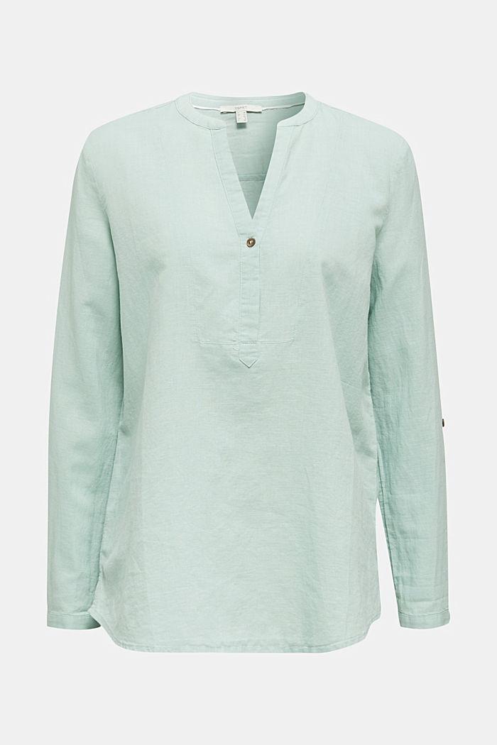 Made of blended linen: Henley blouse, LIGHT AQUA GREEN, detail image number 6