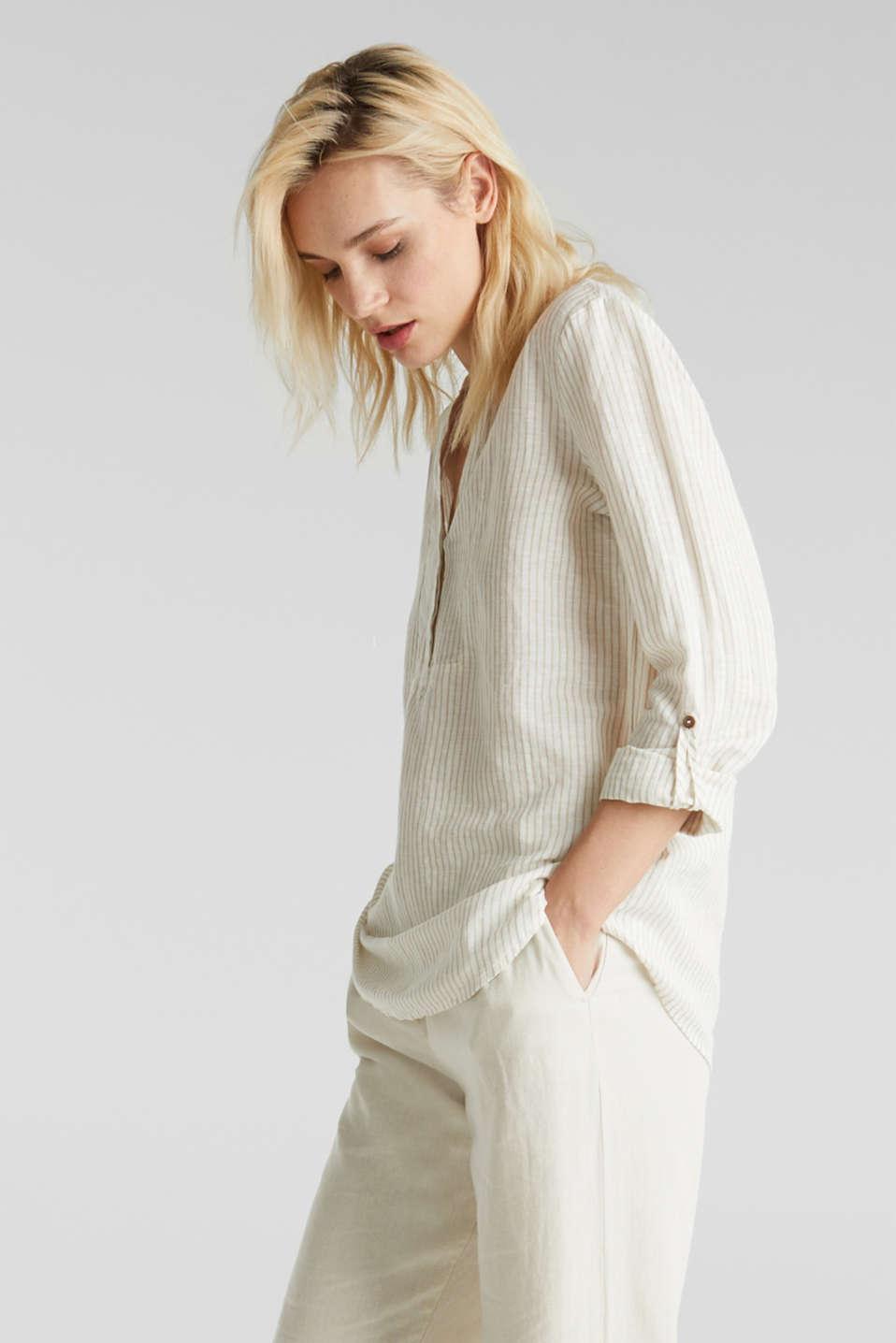 Linen blend: striped blouse, BEIGE, detail image number 0