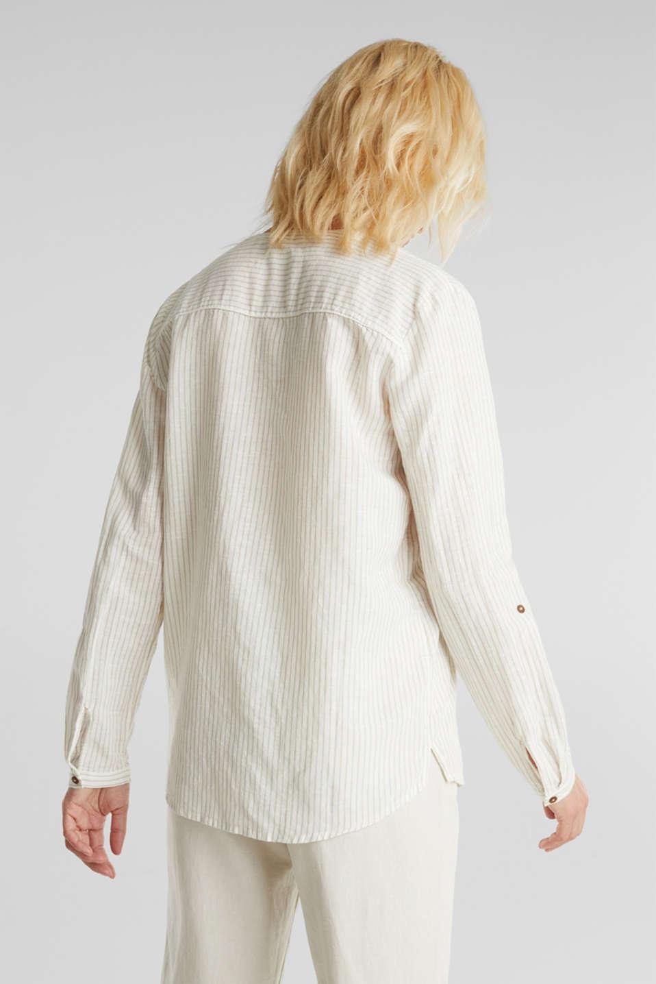 Linen blend: striped blouse, BEIGE, detail image number 2