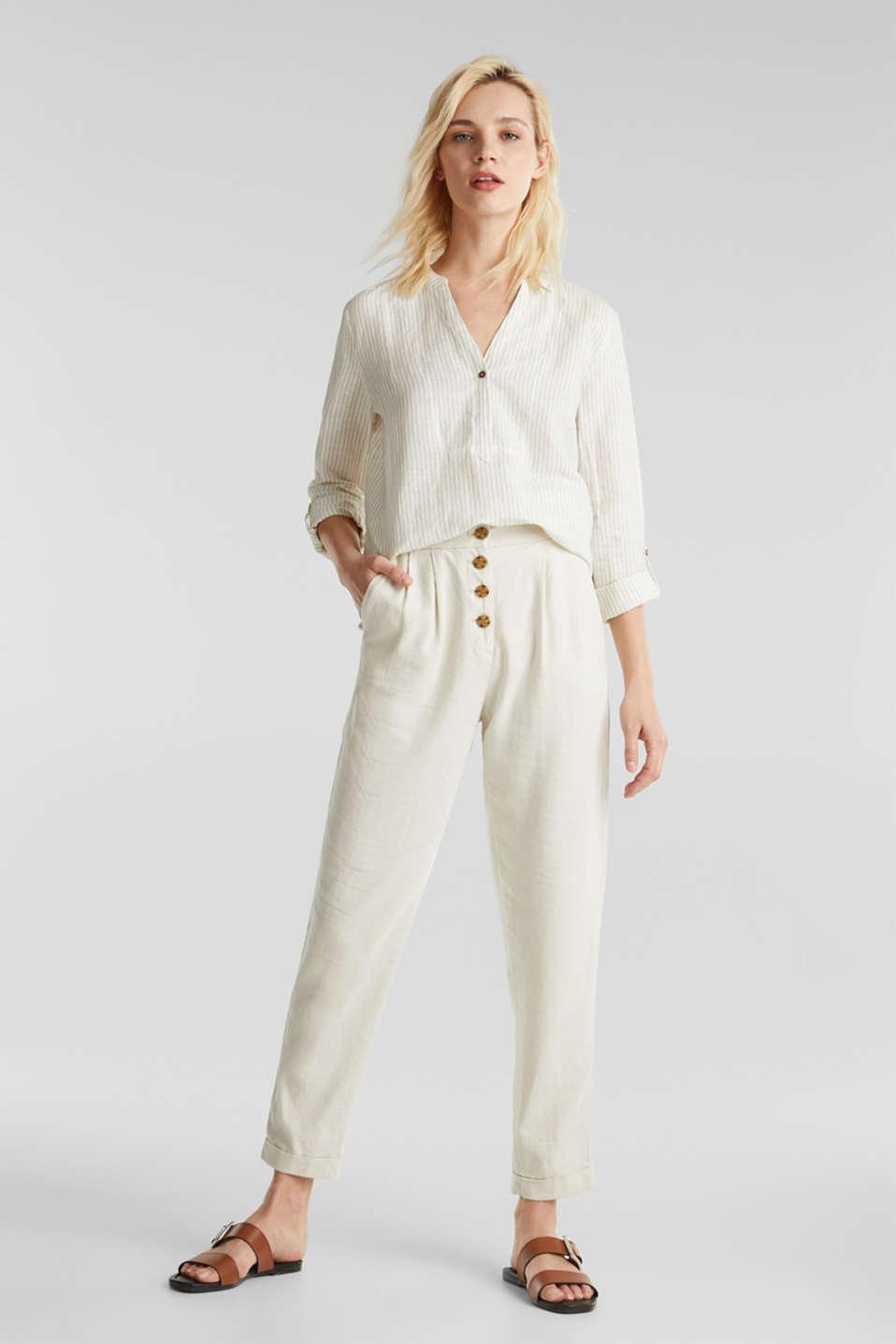 Linen blend: striped blouse, BEIGE, detail image number 4