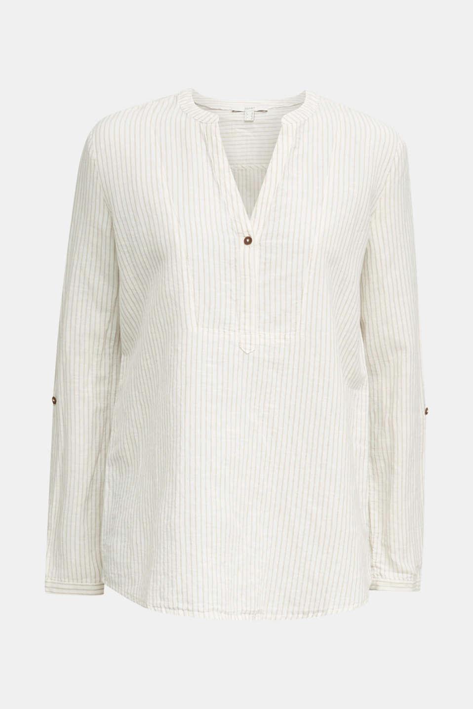 Linen blend: striped blouse, BEIGE, detail image number 5