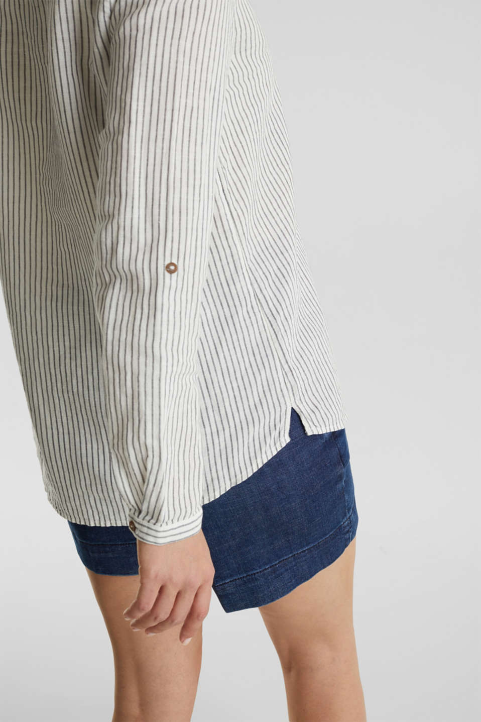 Linen blend: striped blouse, NAVY 4, detail image number 2