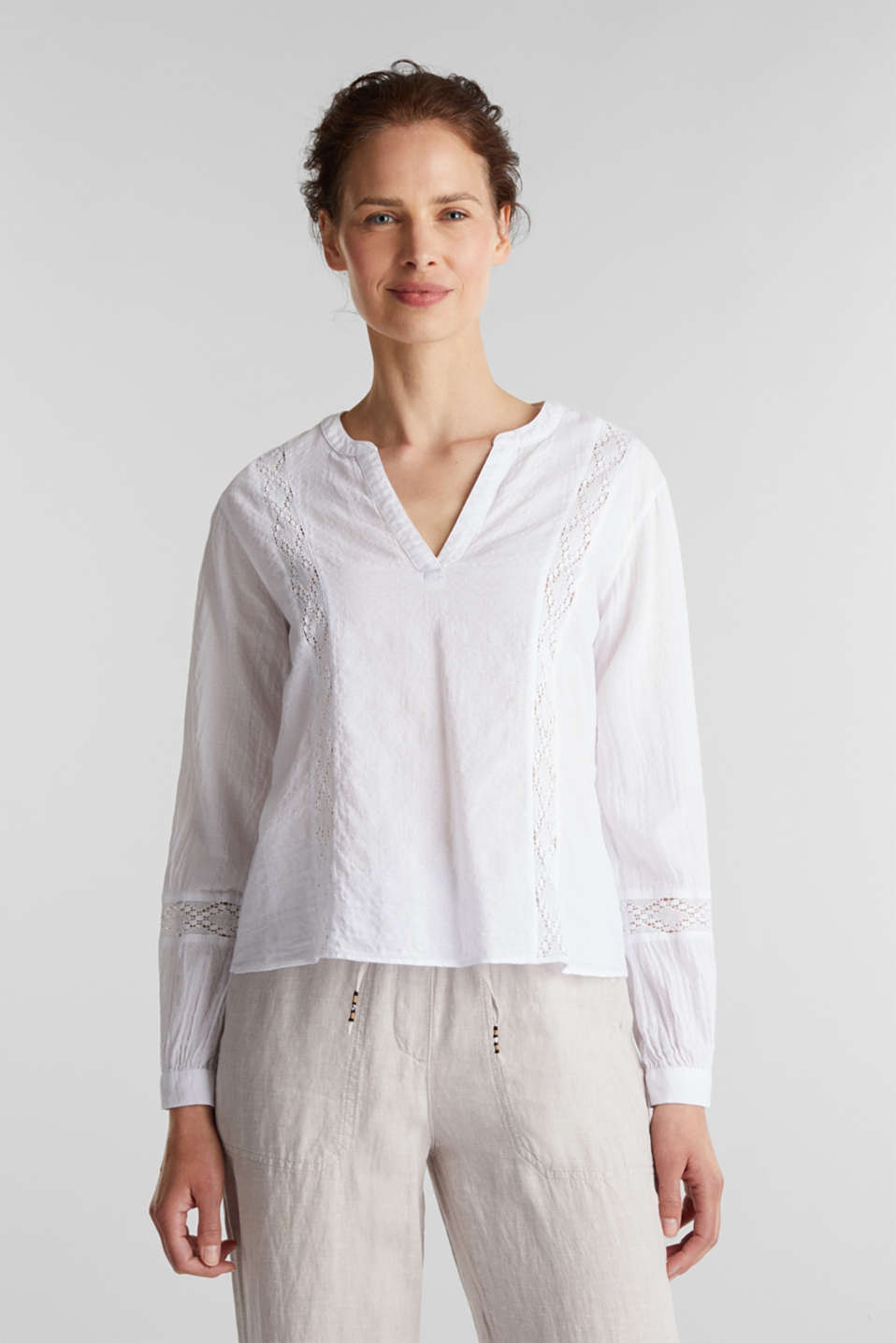 Esprit - Lace blouse made of 100% cotton