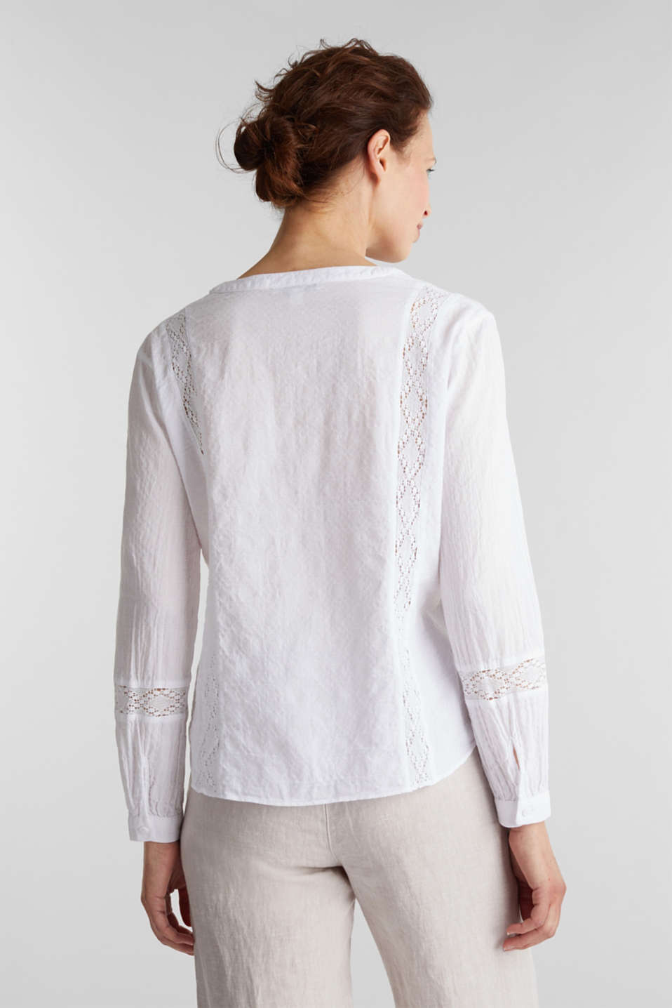 Lace blouse made of 100% cotton, WHITE, detail image number 3