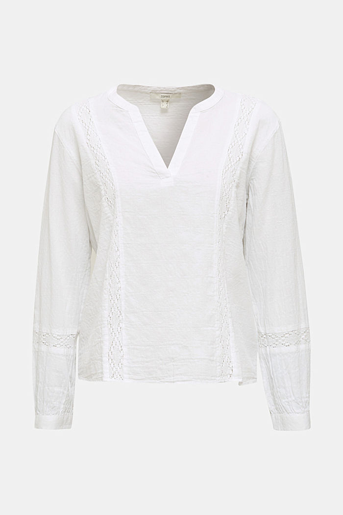 Lace blouse made of 100% cotton, WHITE, detail image number 5