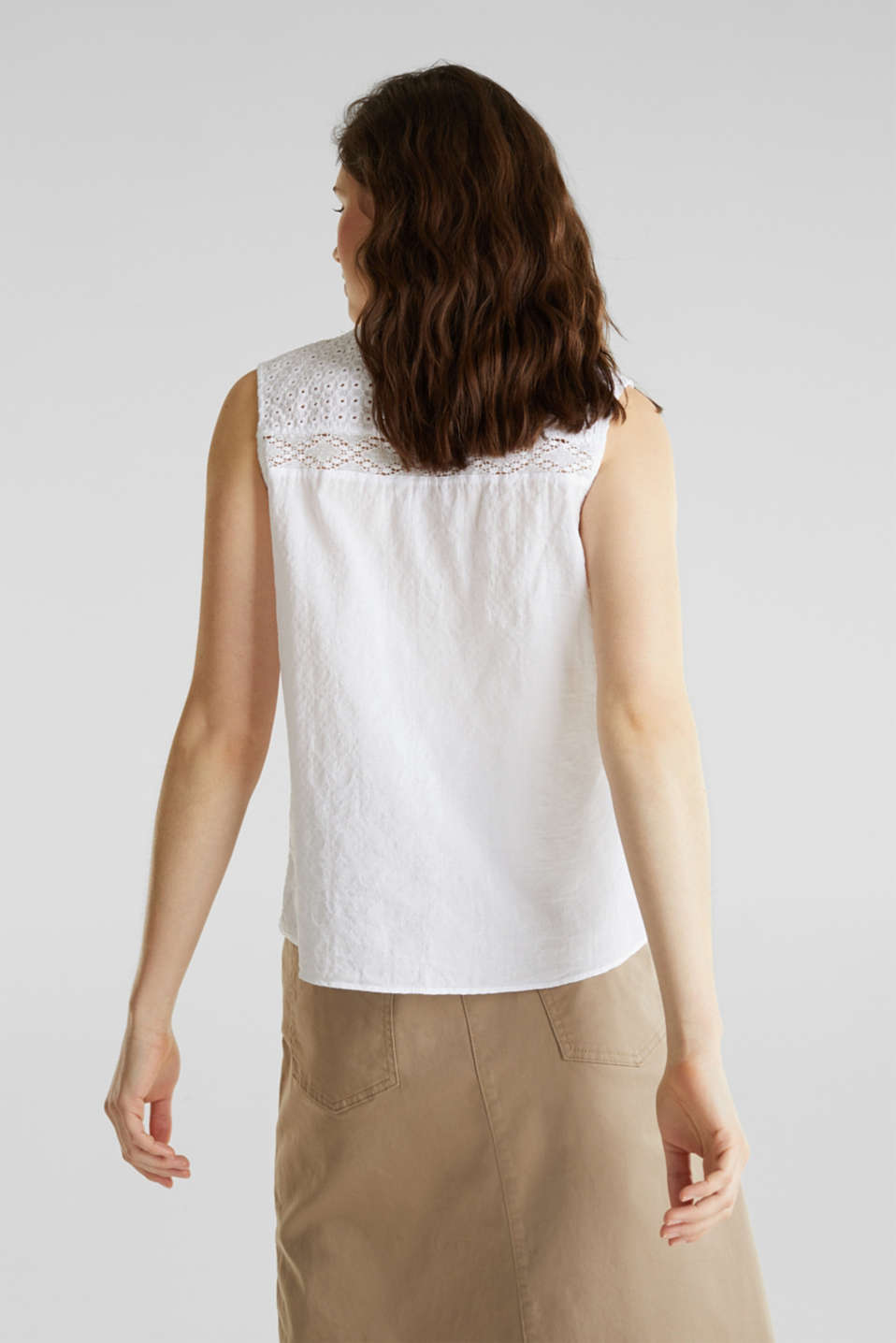 Lace blouse top, 100% cotton, WHITE, detail image number 3