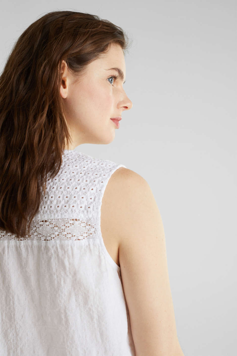 Lace blouse top, 100% cotton, WHITE, detail image number 2