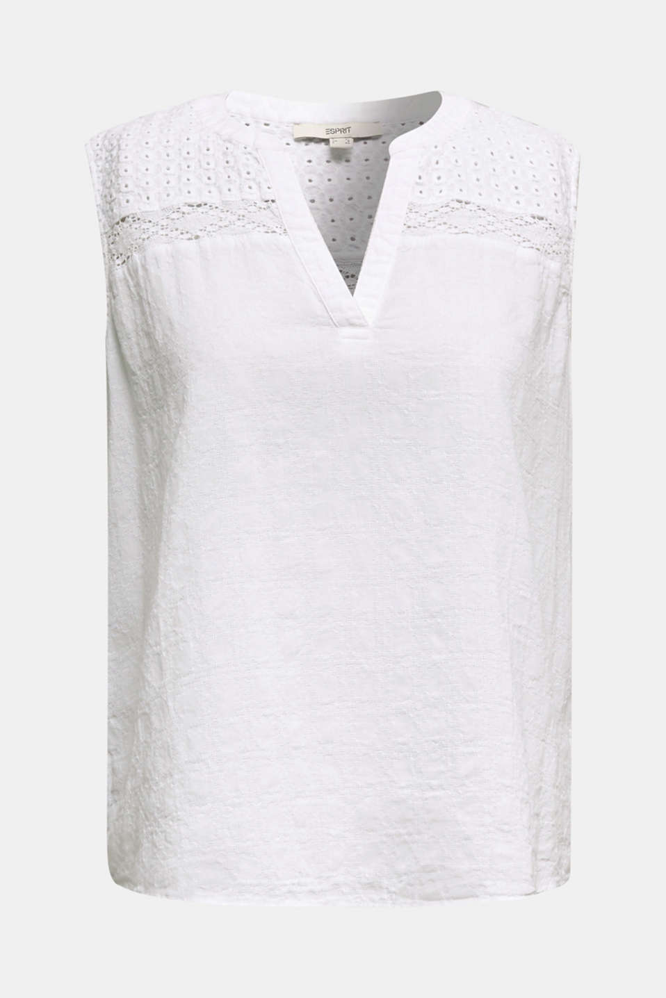Lace blouse top, 100% cotton, WHITE, detail image number 6