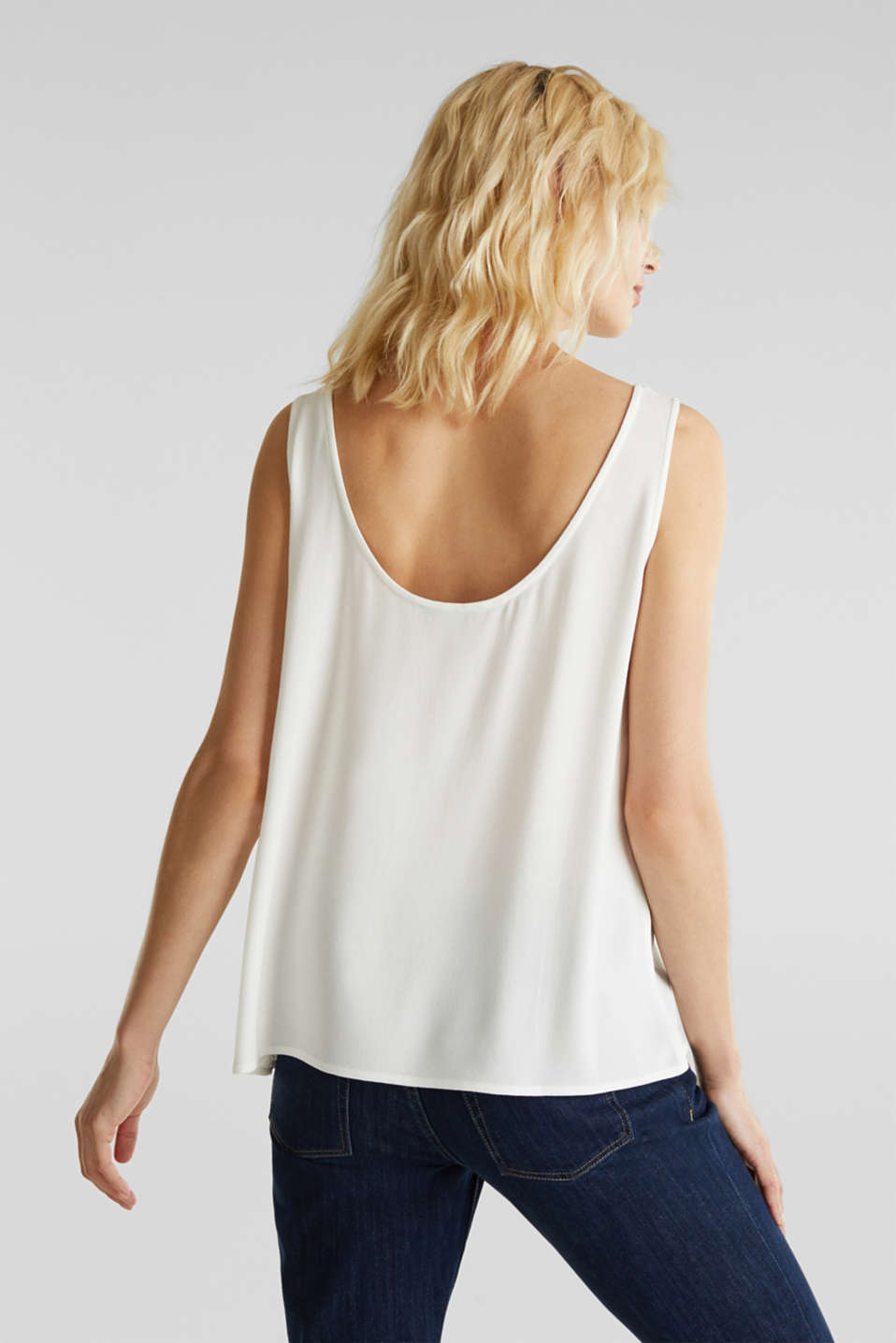 Flowing crepe blouse top, OFF WHITE, detail image number 3