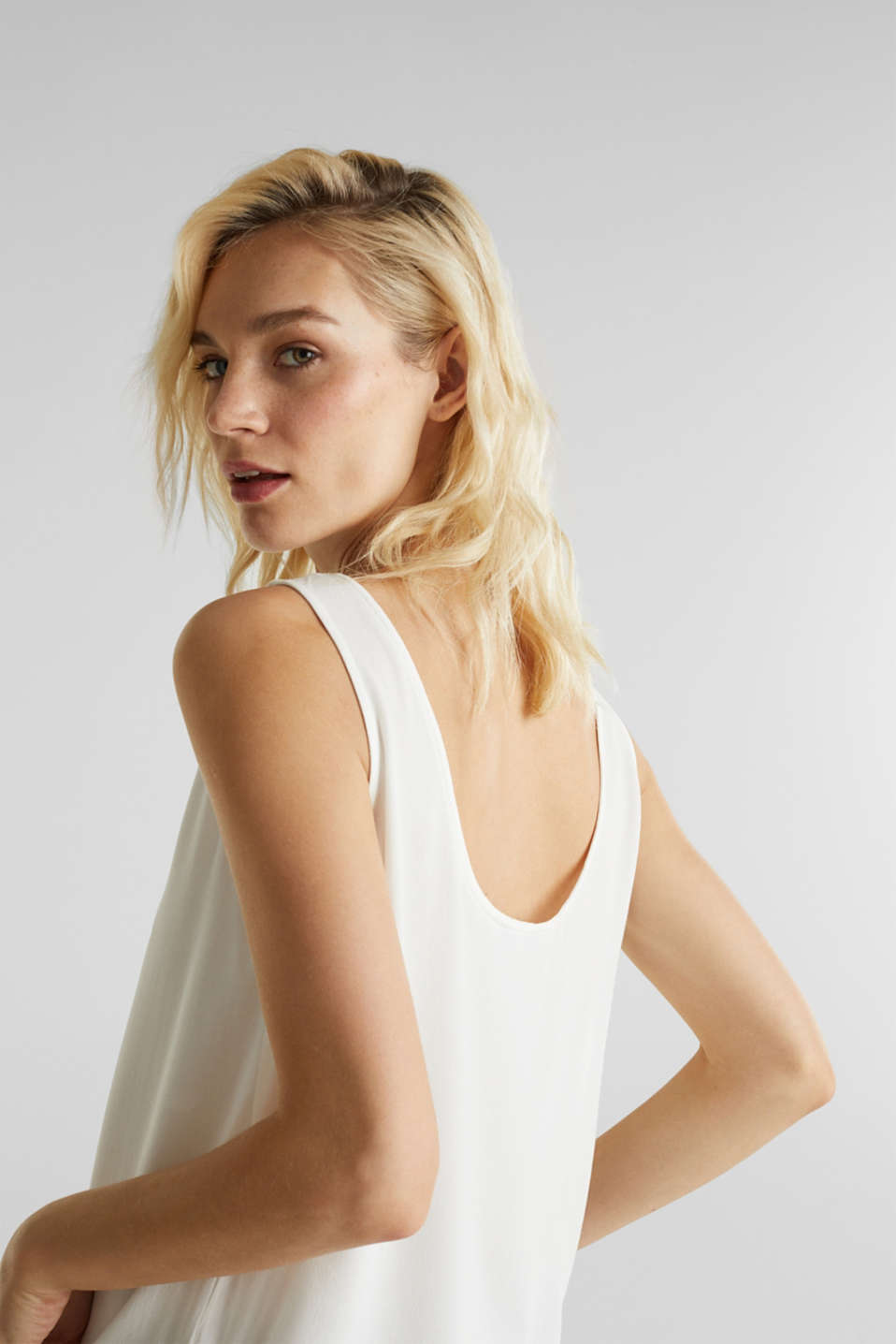 Flowing crepe blouse top, OFF WHITE, detail image number 2