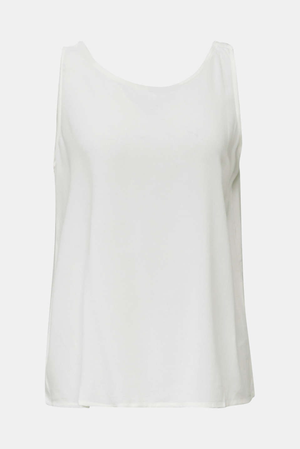 Flowing crepe blouse top, OFF WHITE, detail image number 5
