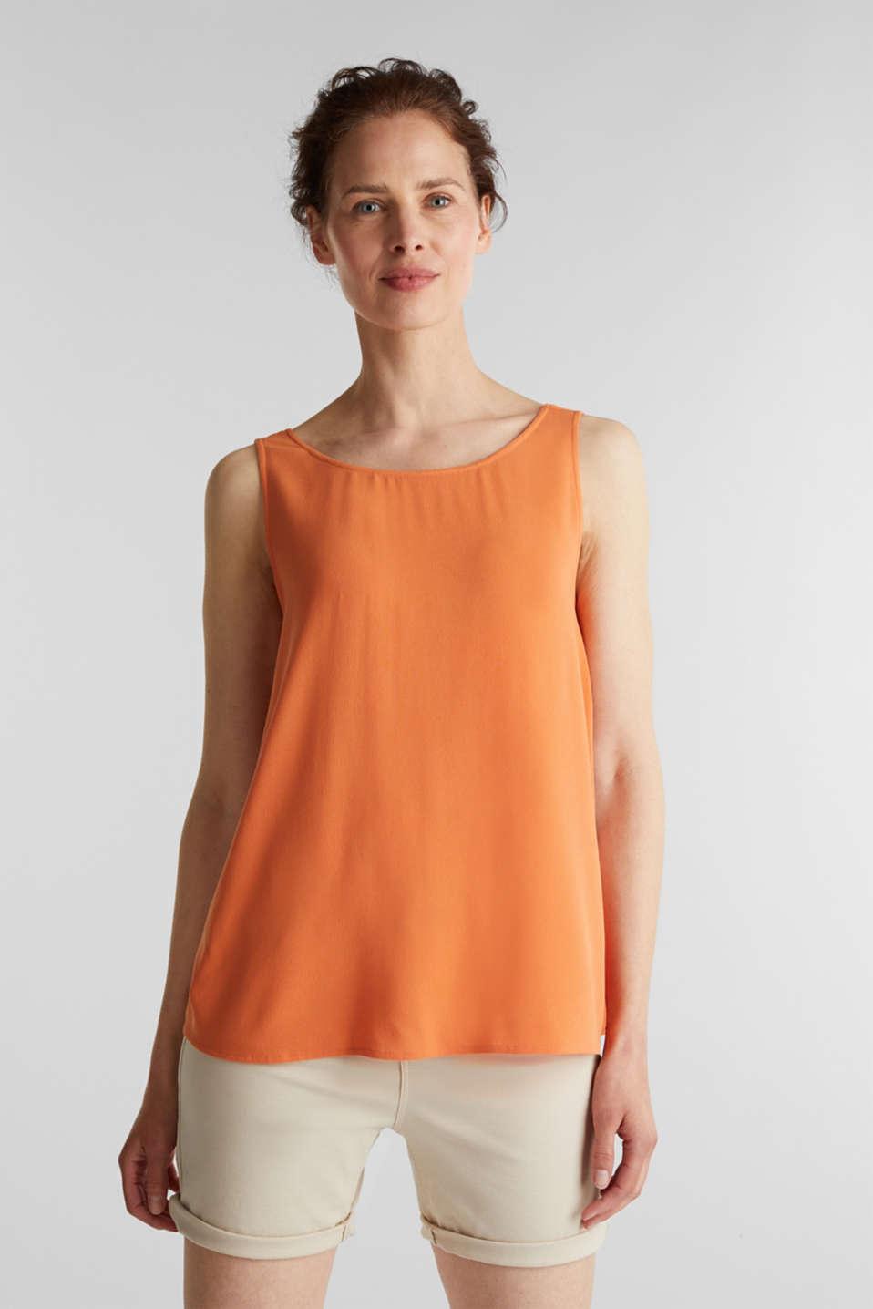 Flowing crepe blouse top, RUST ORANGE, detail image number 0