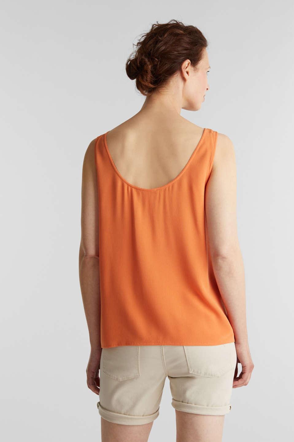 Flowing crepe blouse top, RUST ORANGE, detail image number 3