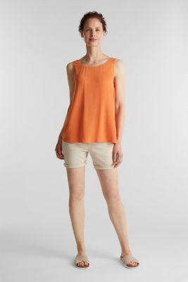 Flowing crepe blouse top, RUST ORANGE, detail